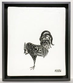 Single Rooster (Ceramic tablet wall work with Italian sgraffito rooster, framed)