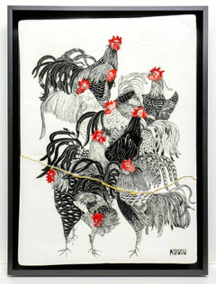 Rooster Smorgasbord (Ceramic tablet work with Italian sgraffito rooster, framed)