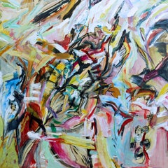 Gardens #1 (Vivid Colorful Expressive Abstract Acrylic Painting on Wood Panel)