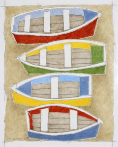 Four Boats (Earth color oil painting on linen stretched on panel)
