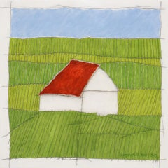 Red Roof (Earth color oil painting on linen stretched on panel)