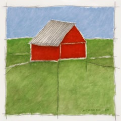 The Old Red Barn (Earth color oil painting on linen stretched on panel)