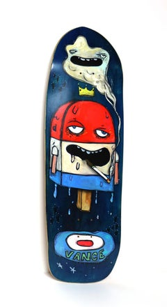 Mr. Lee to Earl (Figurative Painting Panel Bright Colors on Skateboard Deck)