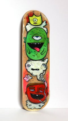 Smoking in Can (Figurative Painting Panel Bright Colors on Skateboard Deck)
