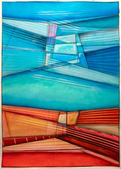 On the Open Road (Abstract Painting on Paper with Bright Colors)