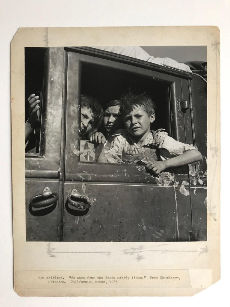 Very special photograph. Highly desirable.   Children, Portrait, Migrant, Oklahoma  The Lange has some conservation work done by Paul Messier. Owned since 2007.  It is a spectacular print. Sometimes the improvement proper conservation makes to a