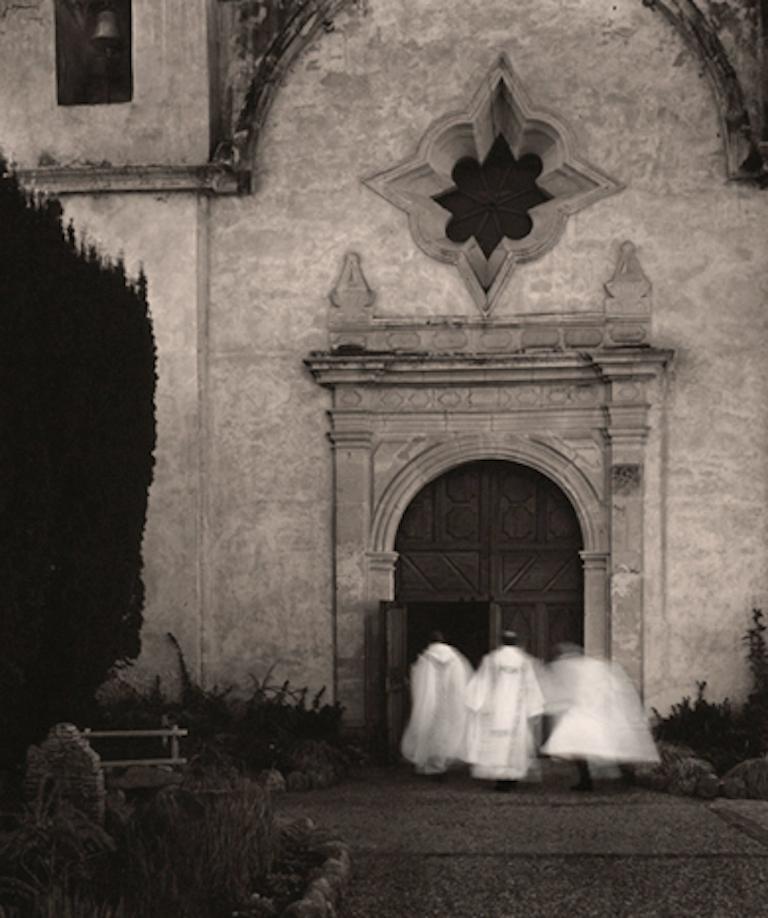 Phil Kember Black and White Photograph - Christmas Mass, Carmel Basilica Mission Sepia Toned Original Silver