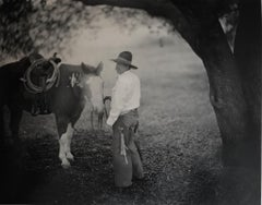 Big Oak California, Horse and Cowboy, Sepia Toned Silver Gelatin