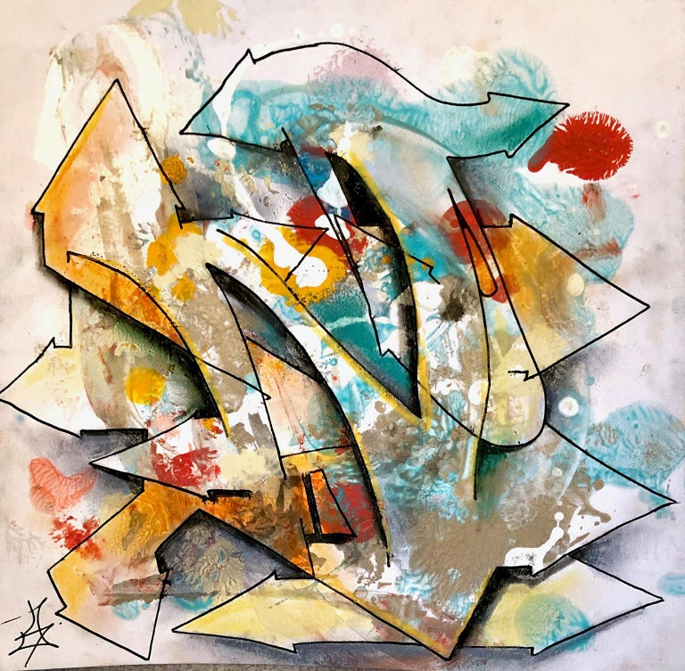 """Kel1st Abstract Print - Kelography Letters (Graffiti """"N"""" Urban Graphic) / Limited ed. 25"""