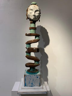 Recycled Goddess metal and wood sculpture