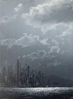 Cast Away From The Mainland, oil grey, white, black, city, clouds and waterway
