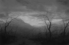 Descending Towards Now, oil grey landscape painting