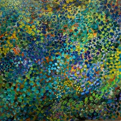 Untitled, large abstract, acrylic on canvas painting green, blue, green, orange