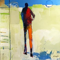 Personaje, acrylic tall figurative on light background, sun at right