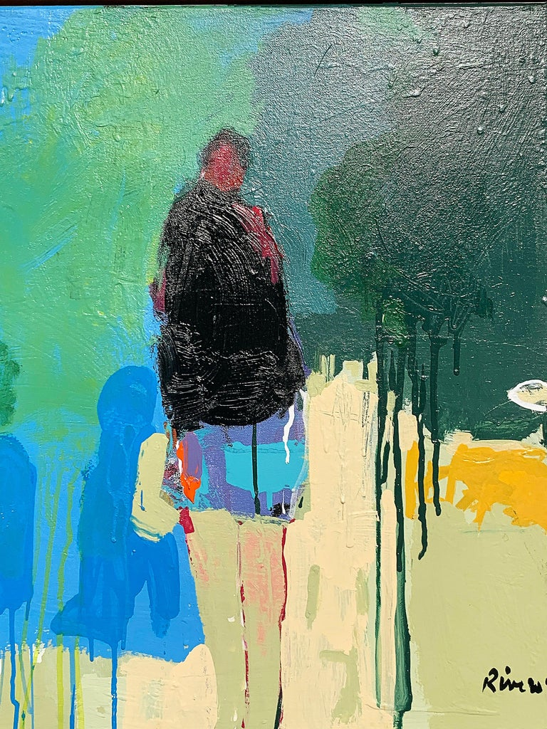 Figura II, acrylic standing figurative facing right, green walking in park - Art by Mike Rivero