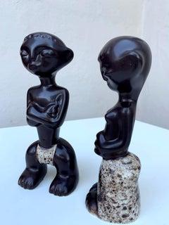Pair Tiki Ceramic Figures