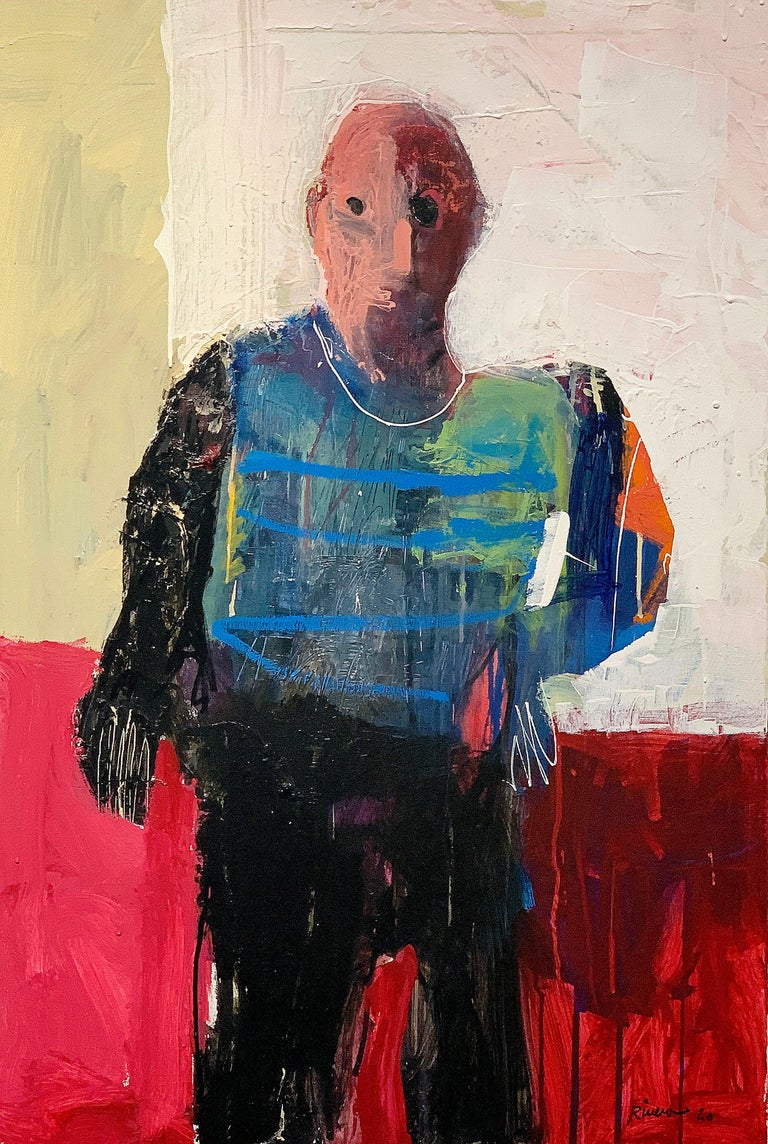 Mike Rivero Personaje Acrylic Figurative Painting Of Seated Man For Sale At 1stdibs June 16th, 2020 see also: 1stdibs
