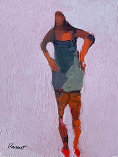 Margarita, figurative standing female on pink background