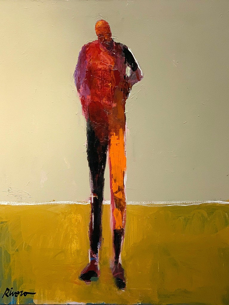 Personaje Alfredo, yellow and red acrylic figurative painting forward facing  For Sale 2