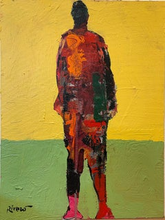 Personaje Alfredo, yellow and red acrylic figurative painting forward facing
