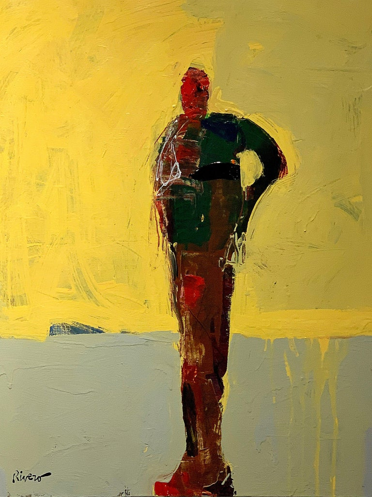 Personaje Alfredo, yellow and red acrylic figurative painting forward facing  For Sale 4