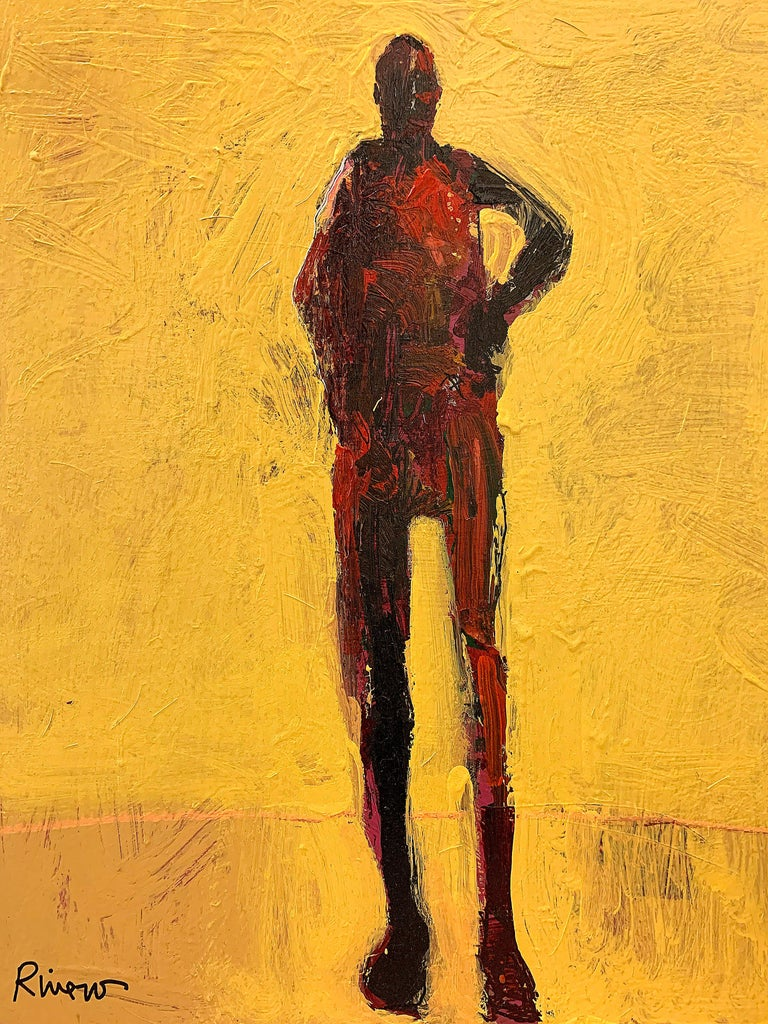 Personaje Alfredo, yellow and red acrylic figurative painting forward facing  For Sale 7