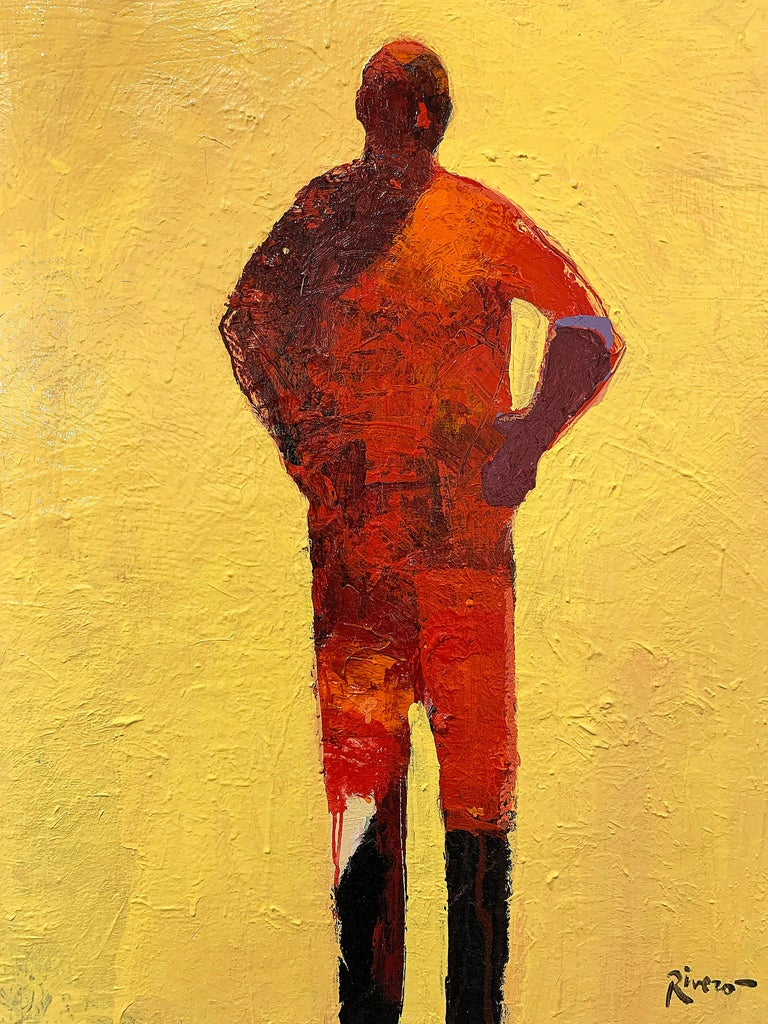 Personaje Alfredo, yellow and red acrylic figurative painting forward facing  For Sale 8