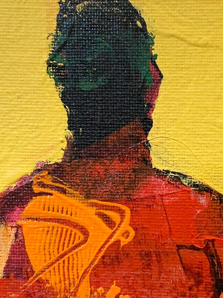 Personaje Alfredo, yellow and red acrylic figurative painting forward facing  - Brown Figurative Painting by Mike Rivero
