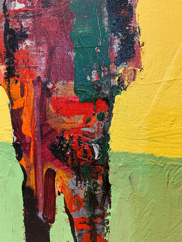 Personaje Alfredo, yellow and red acrylic figurative painting forward facing  - Painting by Mike Rivero