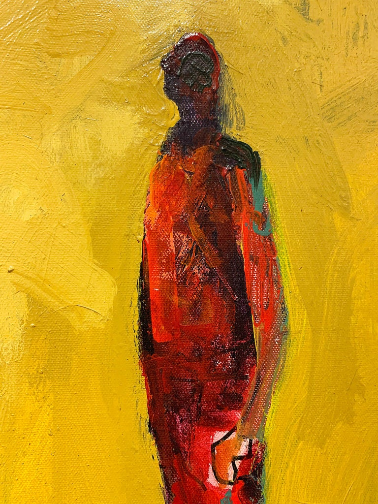 Personaje, figurative acrylic painting of man standing facing left - Contemporary Painting by Mike Rivero