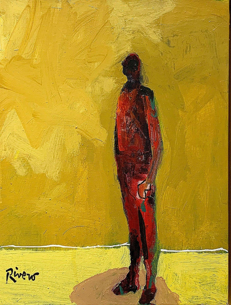 Mike Rivero  Figurative Painting - Personaje, figurative acrylic painting of man standing facing left