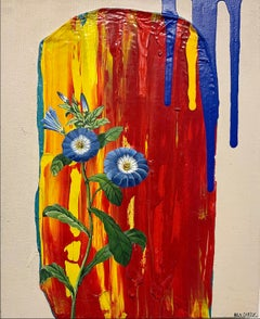 Untitled, acrylic on canvas, blue flowers, texture, red, blue, yellow