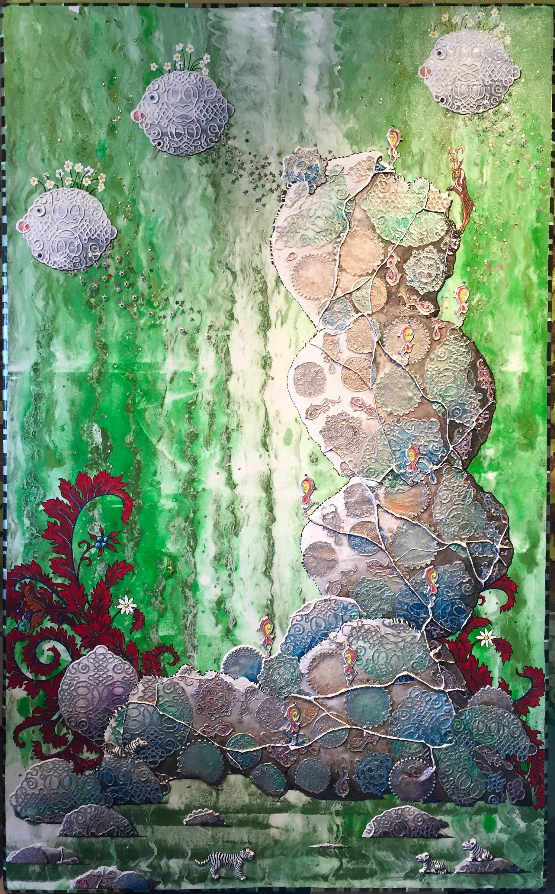 Expedition II, acrylic on canvas painting, underwater, green, fish, red, tigers