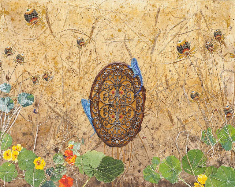 Dinner Date, acrylic painting depicting blue lizards, nasturtium, dry grass - Mixed Media Art by Ben Darby