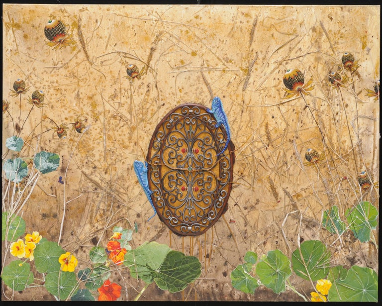 Dinner Date, acrylic painting depicting blue lizards, nasturtium, dry grass - Contemporary Mixed Media Art by Ben Darby