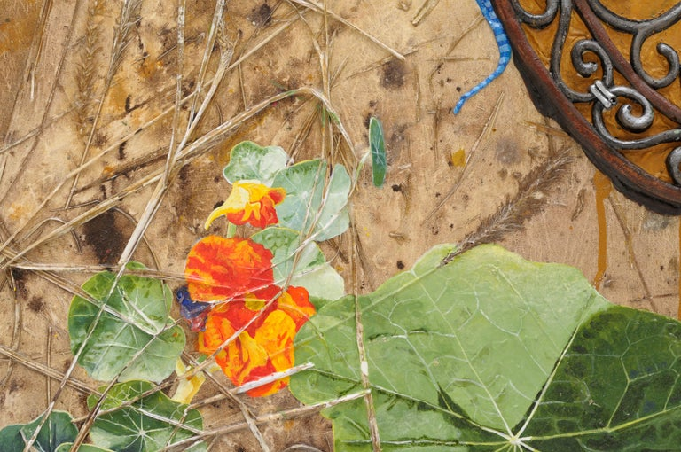 Dinner Date, acrylic painting depicting blue lizards, nasturtium, dry grass For Sale 1