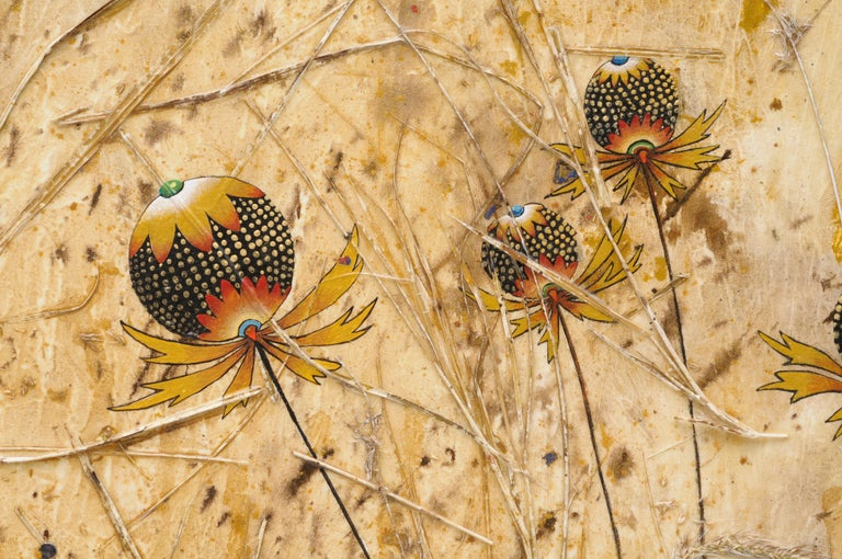 Dinner Date, acrylic painting depicting blue lizards, nasturtium, dry grass For Sale 2