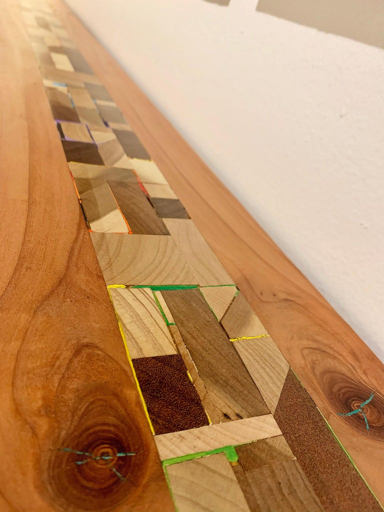 Mixed-media Long Mixed Wood Cityscape Shelf or Mantel by Artist Ben Darby, 2020 For Sale 1