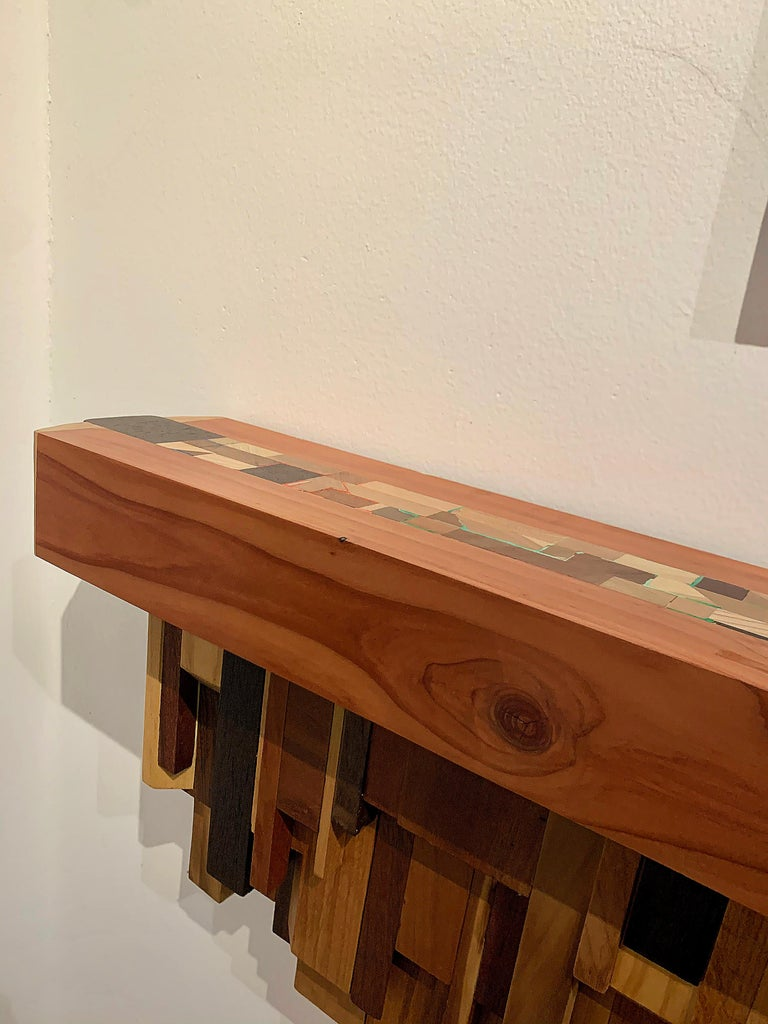 Mixed-media Long Mixed Wood Cityscape Shelf or Mantel by Artist Ben Darby, 2020 For Sale 3