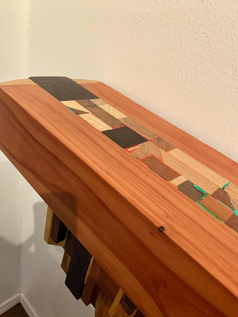Mixed-media Long Mixed Wood Cityscape Shelf or Mantel by Artist Ben Darby, 2020 For Sale 4