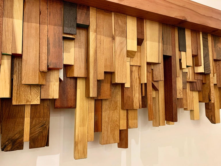 Mixed-media Long Mixed Wood Cityscape Shelf or Mantel by Artist Ben Darby, 2020 For Sale 5