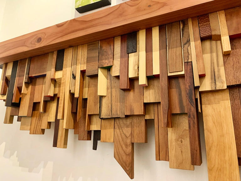 Mixed-media Long Mixed Wood Cityscape Shelf or Mantel by Artist Ben Darby, 2020 For Sale 6