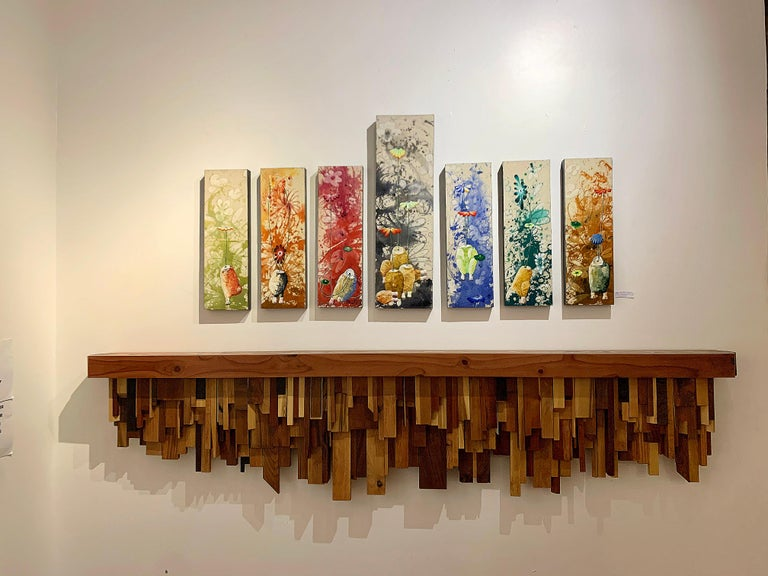 Mixed-media Long Mixed Wood Cityscape Shelf or Mantel by Artist Ben Darby, 2020 For Sale 2