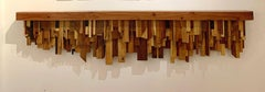 Mixed-media Long Mixed Wood Cityscape Shelf or Mantel by Artist Ben Darby, 2020