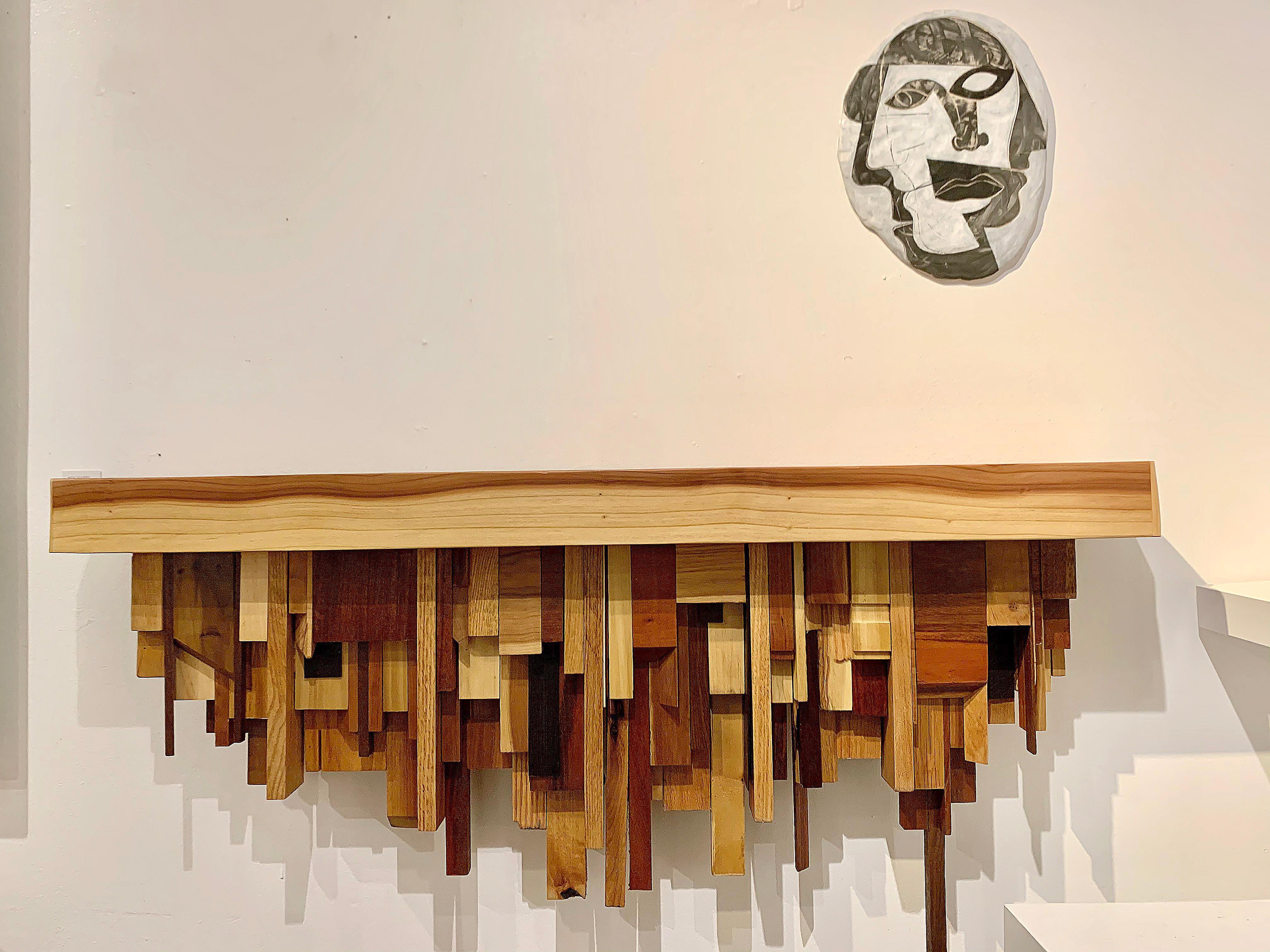 Mixed-media Medium Wood Cityscape Shelf or Mantel by Artist Ben Darby, 2020