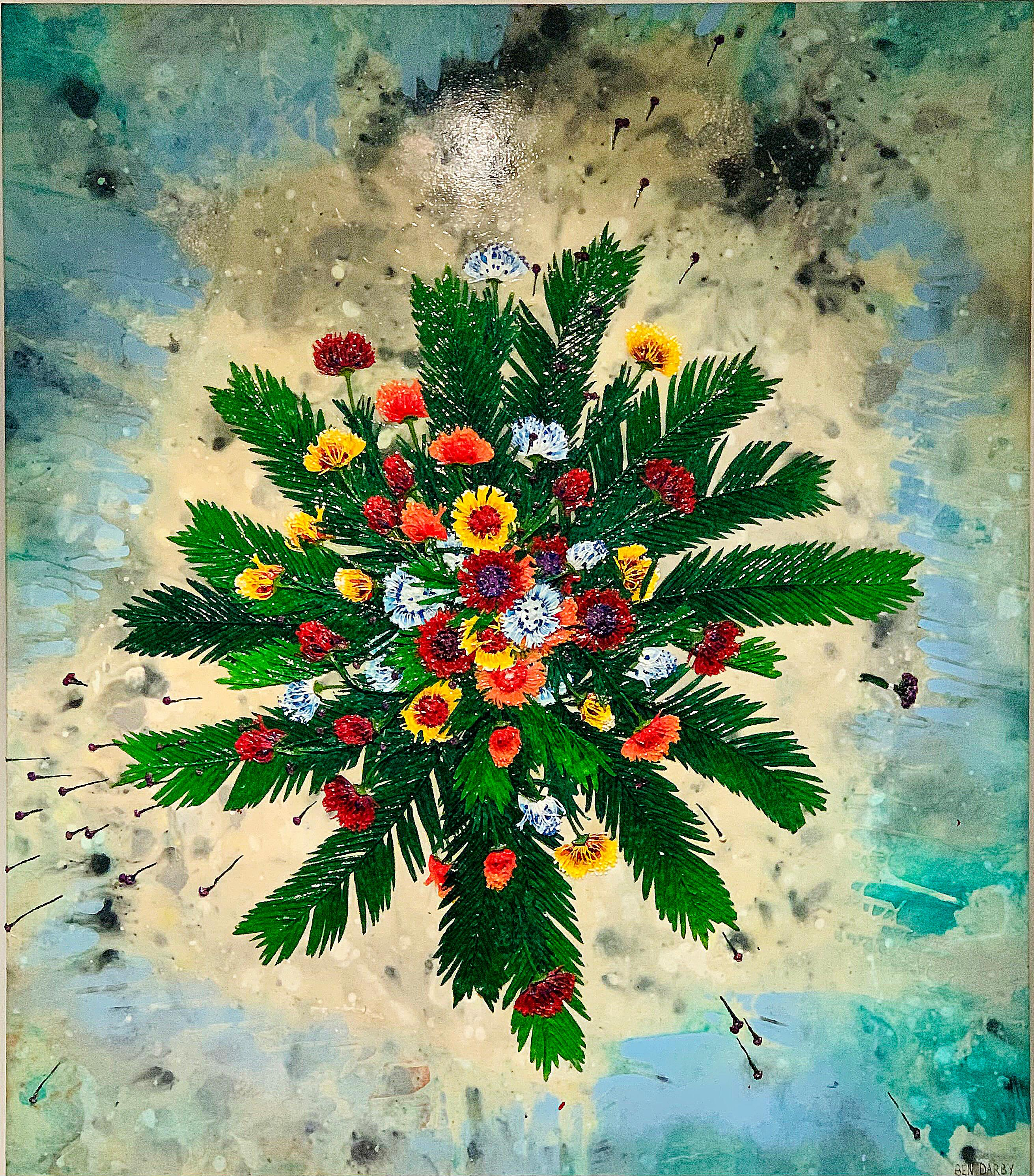 Protea Ball, acrylic on canvas large painting by Ben Darby, bright, texture