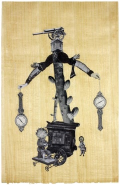 Automata, Mother Courage, unique collage on gold leaf