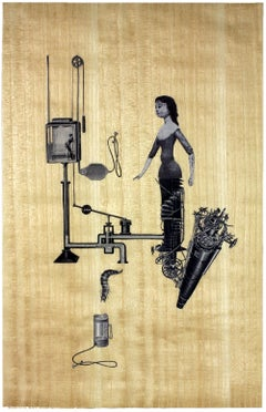 Automata-Mother of Invention, Unique collage on gold leaf