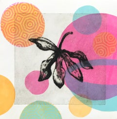 Garden Cycle Orchideas #4, drypoint and relief on japanese Washi Paper