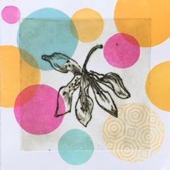 Garden Cycle, Orchideas #6, drypoint and relief print on Japanese washi paper